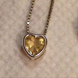 Jewelry - 6mm Citrine Heart Slider Necklace